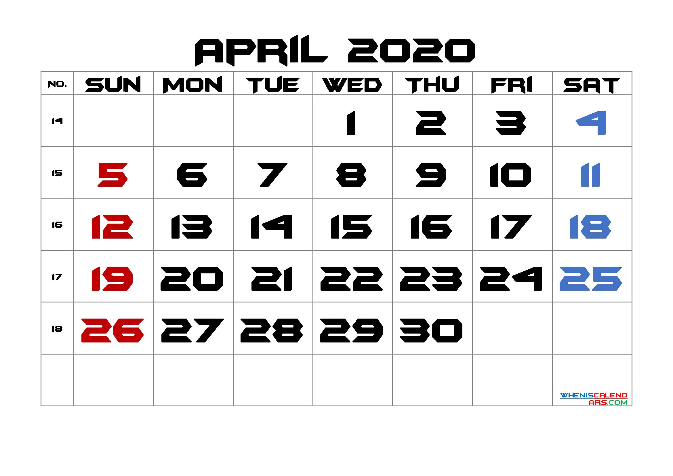 Free Printable 2020 April  Calendar