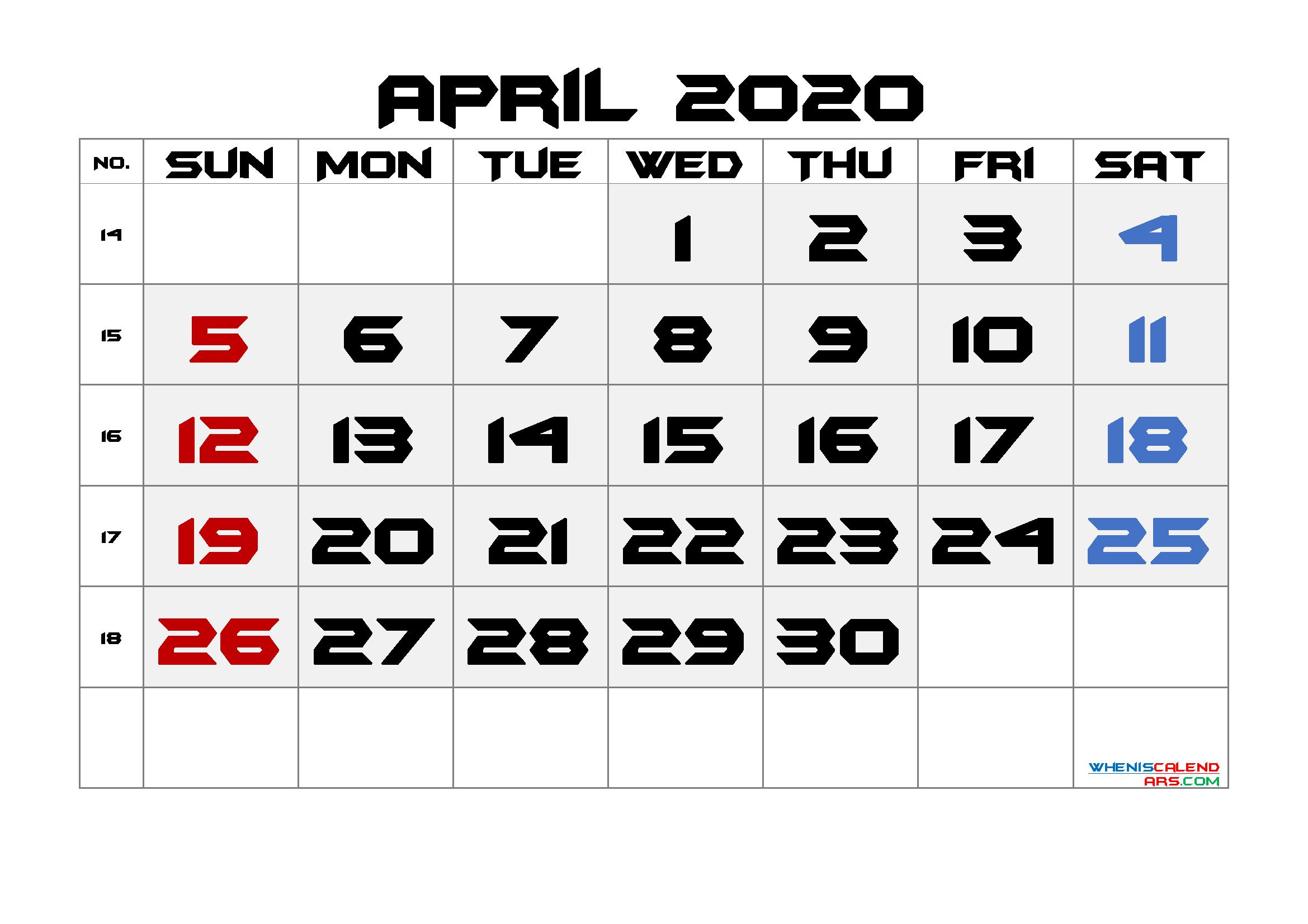 Printable April 2020 Calendar with Week Numbers