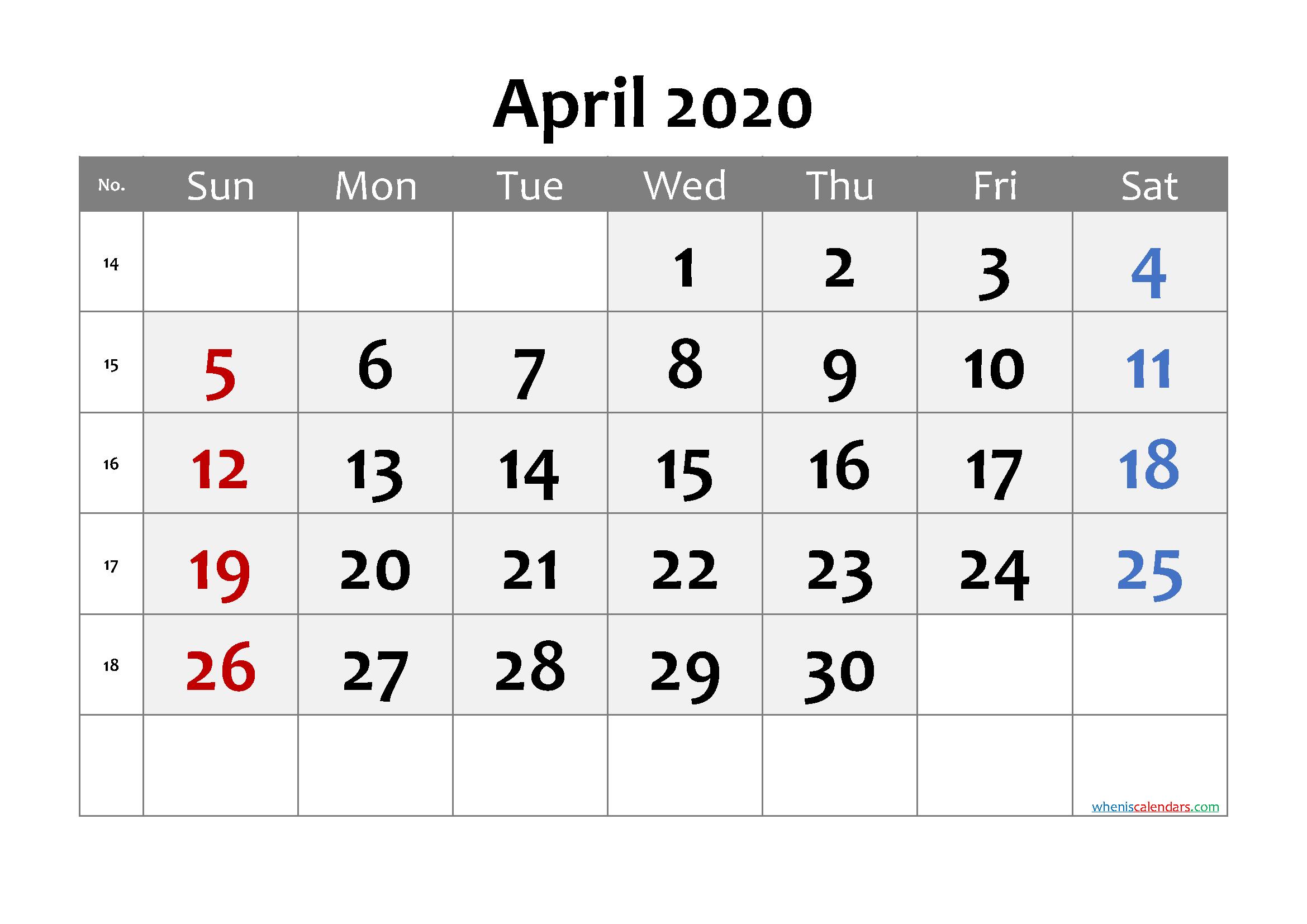 April 2020 Printable Calendar with Week Numbers