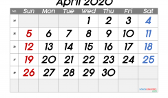 Free Printable April 2020 Calendar with Week Numbers