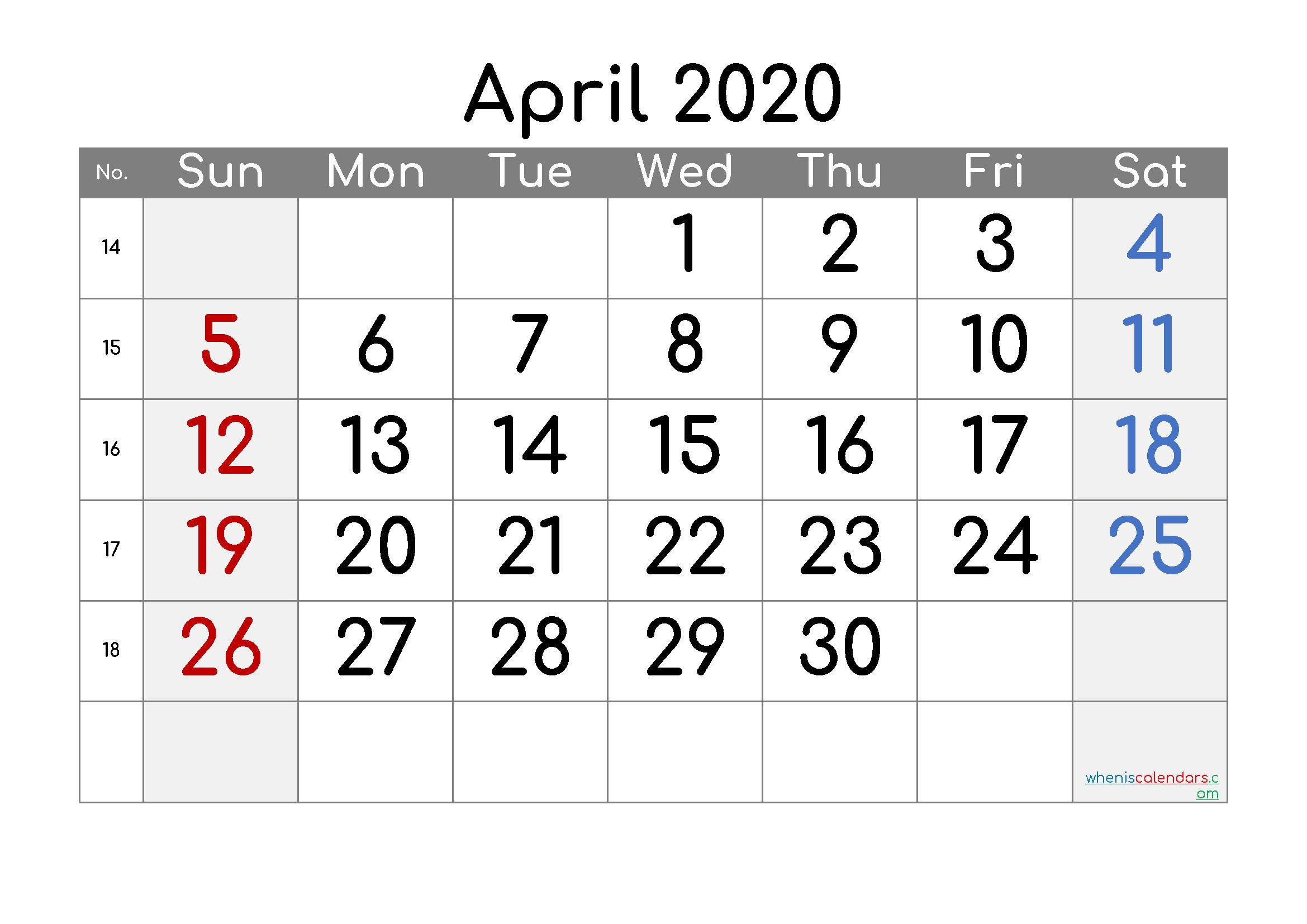 Free Printable Calendar 2020 April