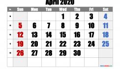 Free April 2020 Calendar with Week Numbers