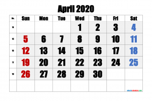 Download Free Printable Calendar April 2020