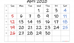 Free April 2020 Calendar with Week Numbers