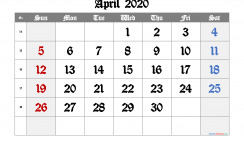 Printable Calendar 2020 April