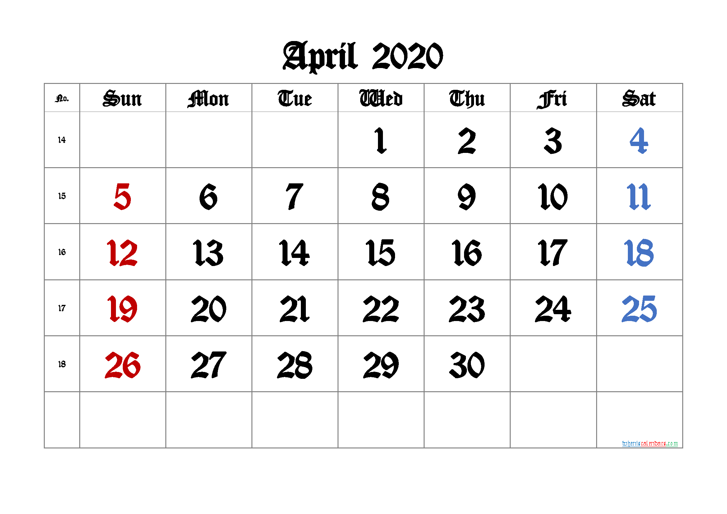 April 2020 Printable Calendar with Week Numbers