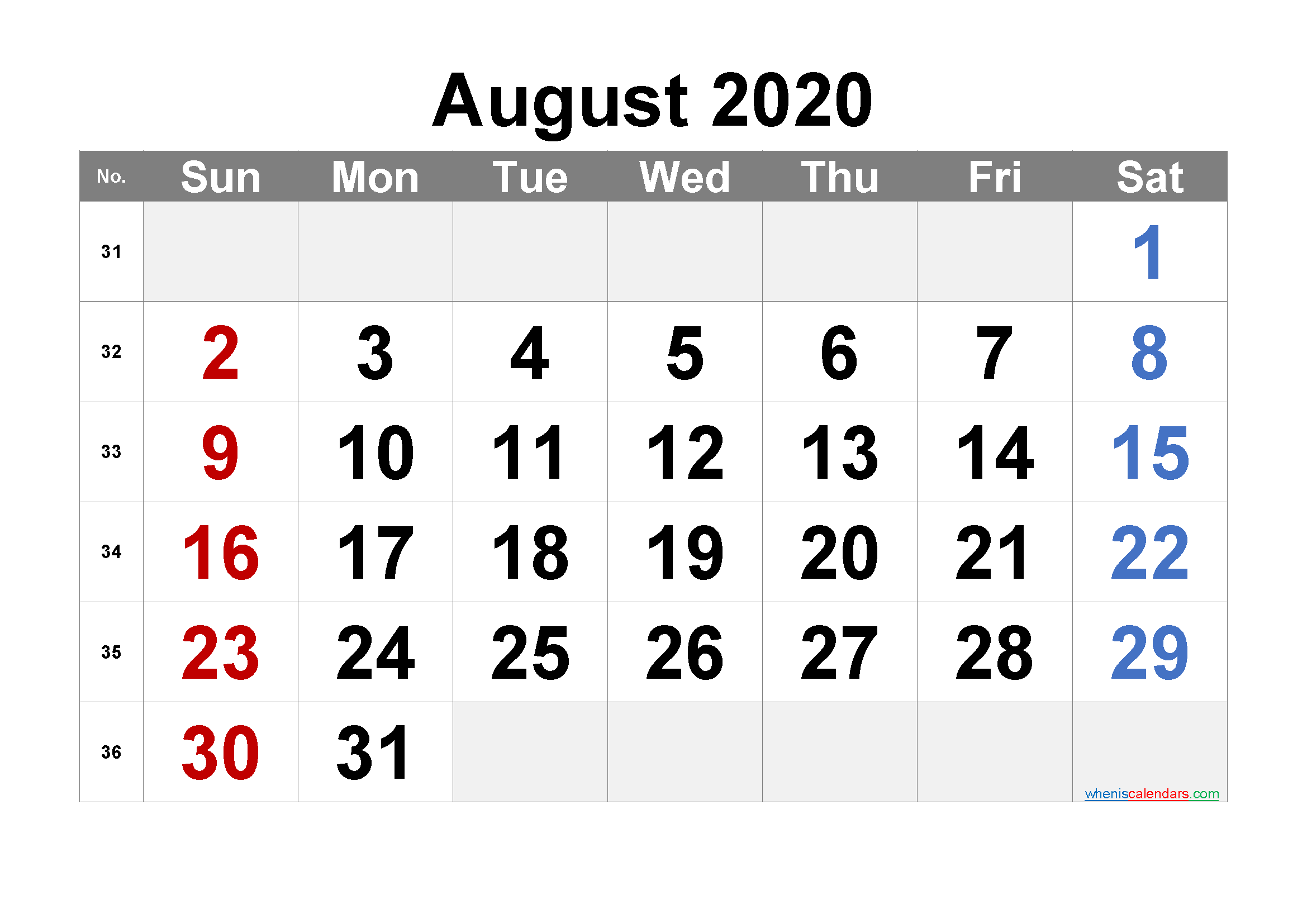 Free Printable August 2020 Calendar with Week Numbers