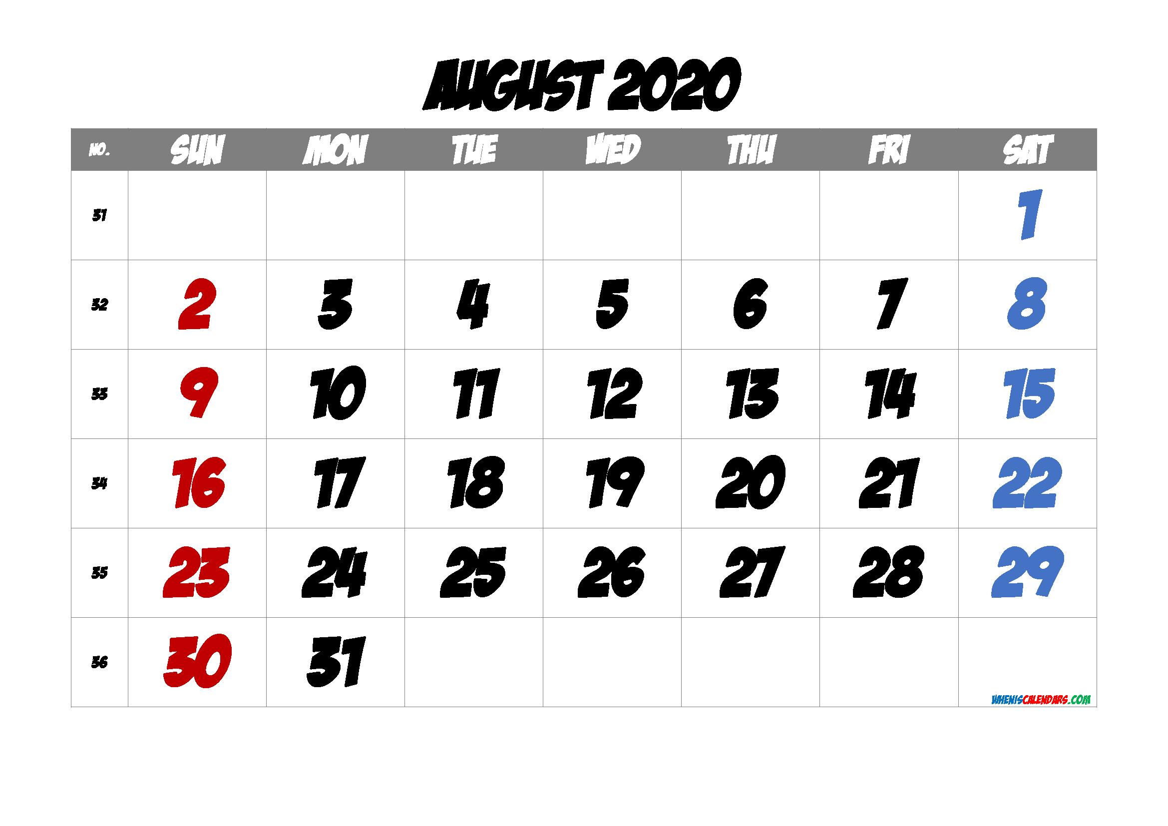 2020 August Free Printable Calendar