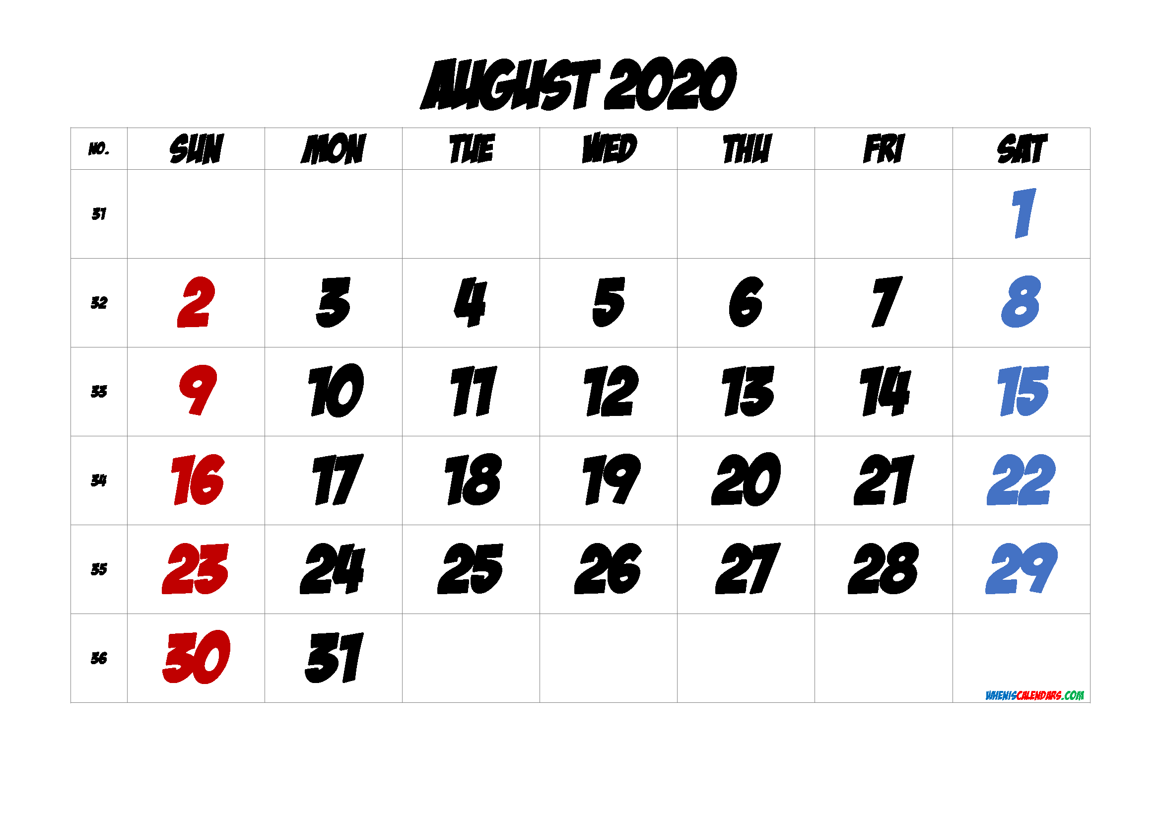 Free August 2020 Calendar with Week Numbers