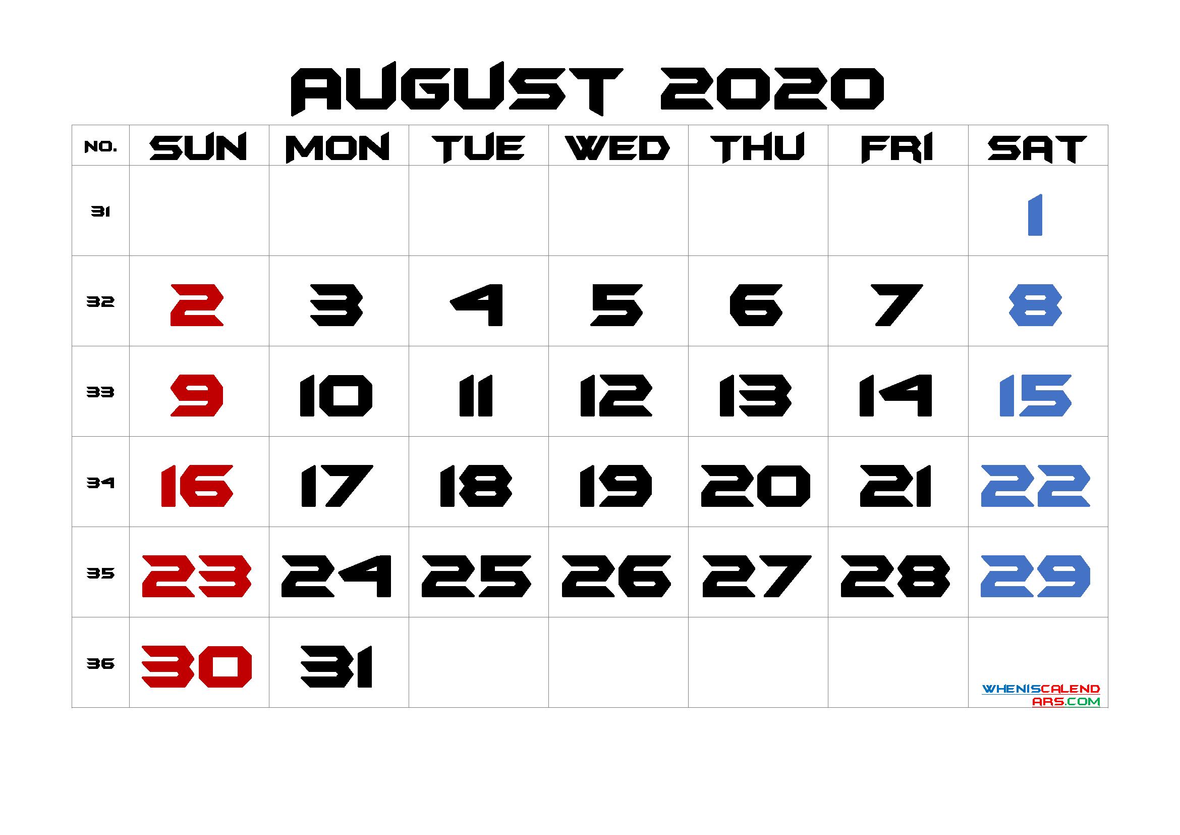 August 2020 Printable Calendar with Week Numbers
