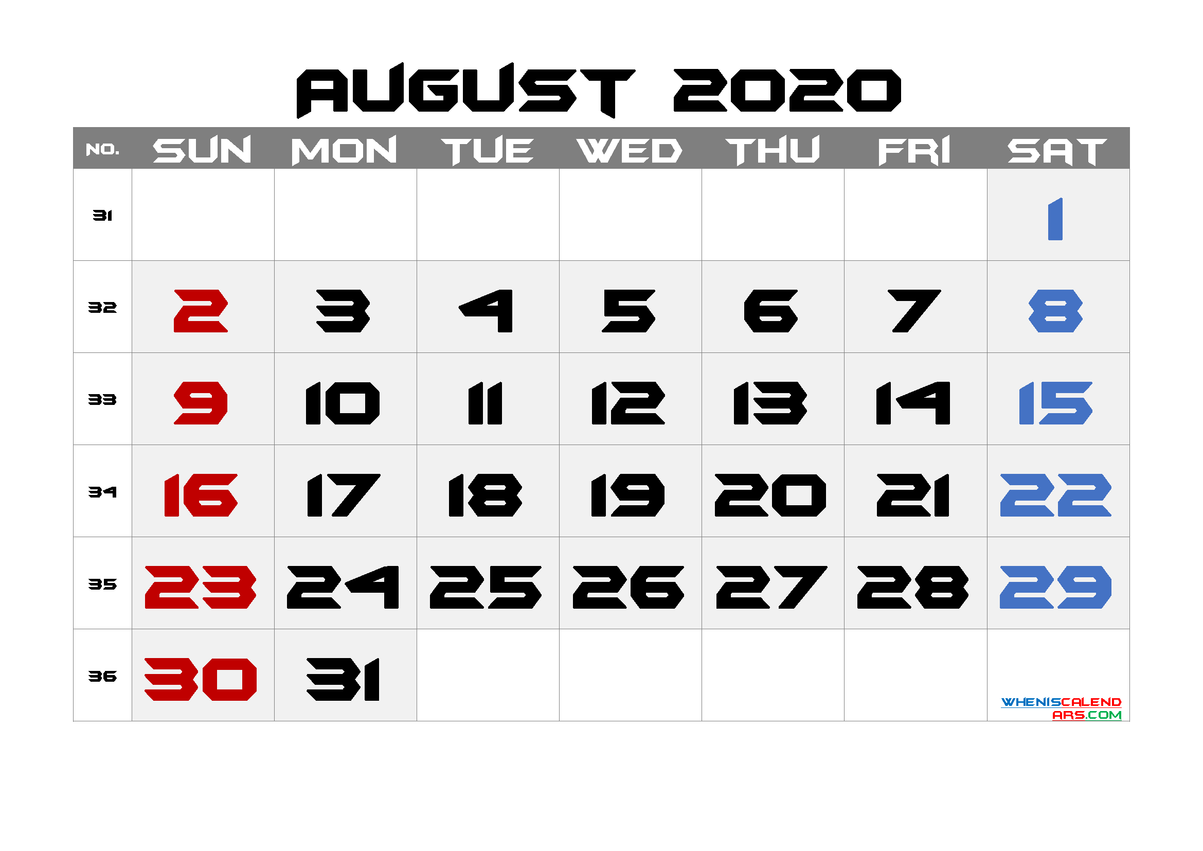 Free August 2020 Calendar