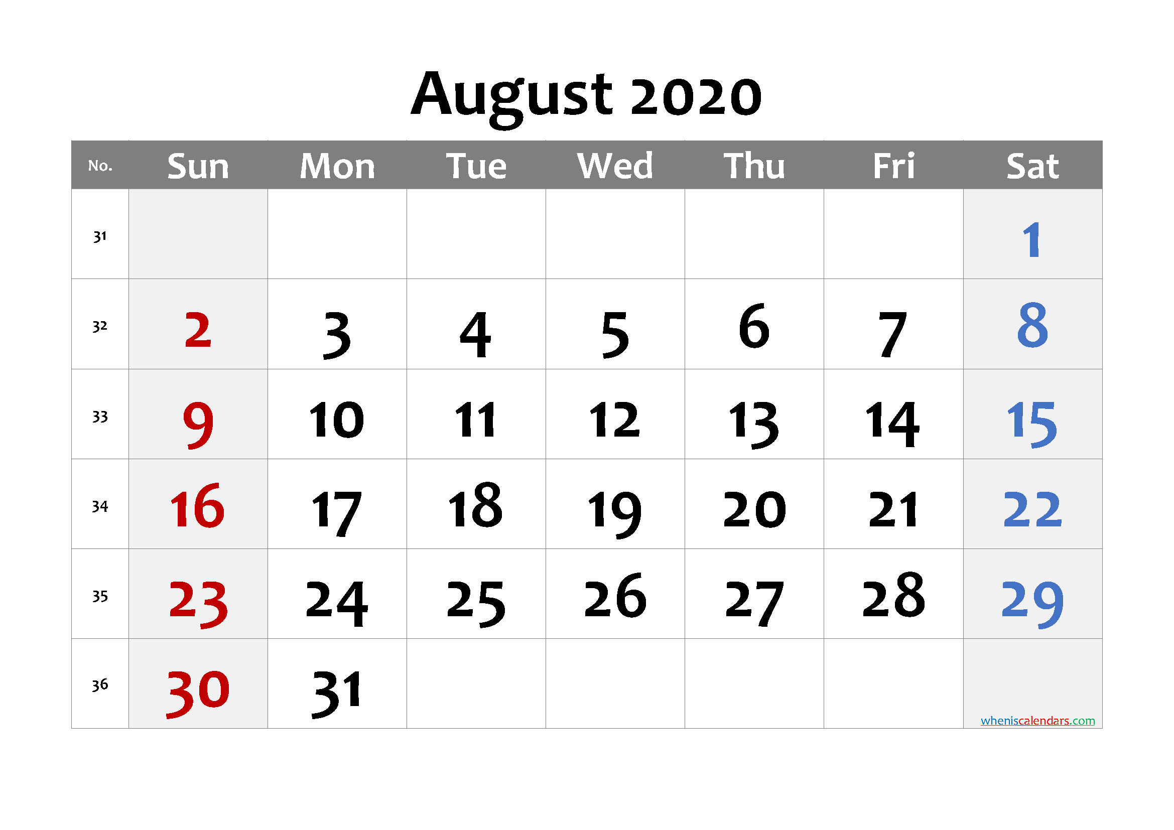 Printable Calendar August 2020