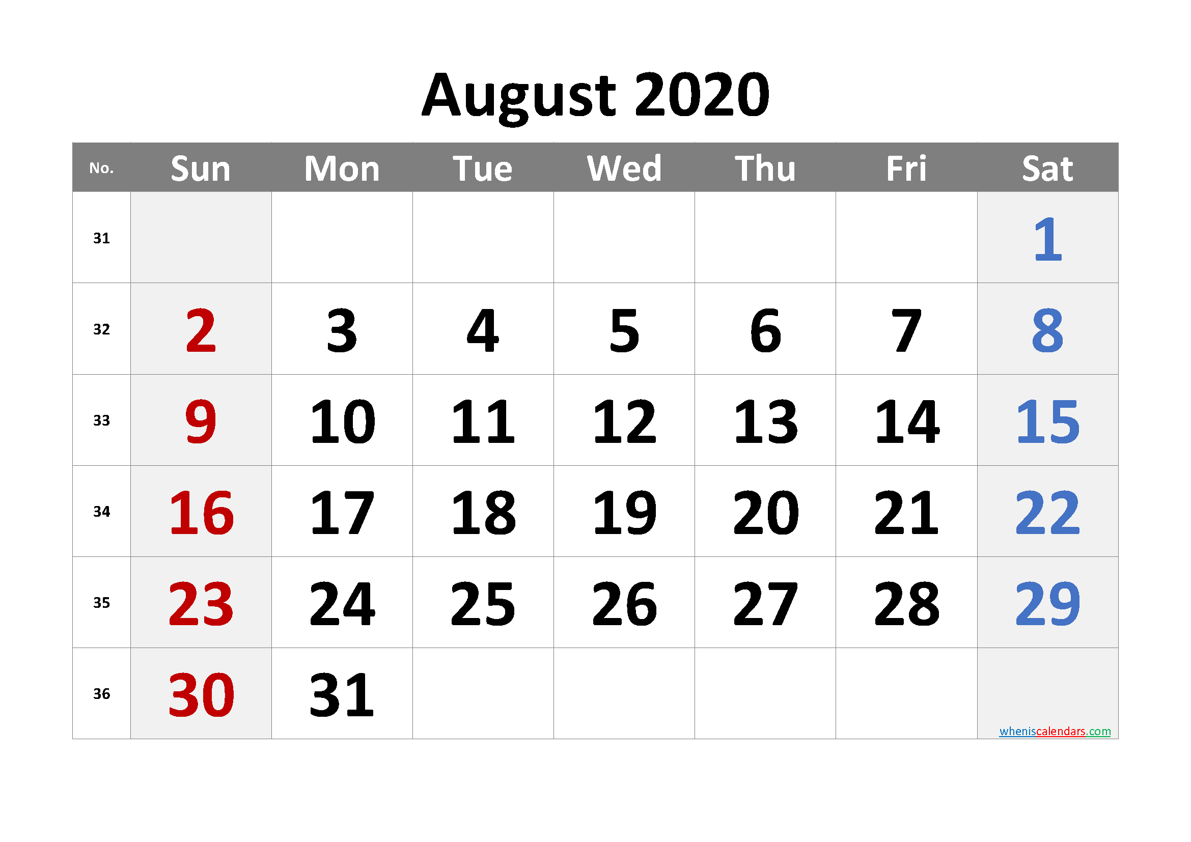 August 2020 Printable Calendar with Week Numbers