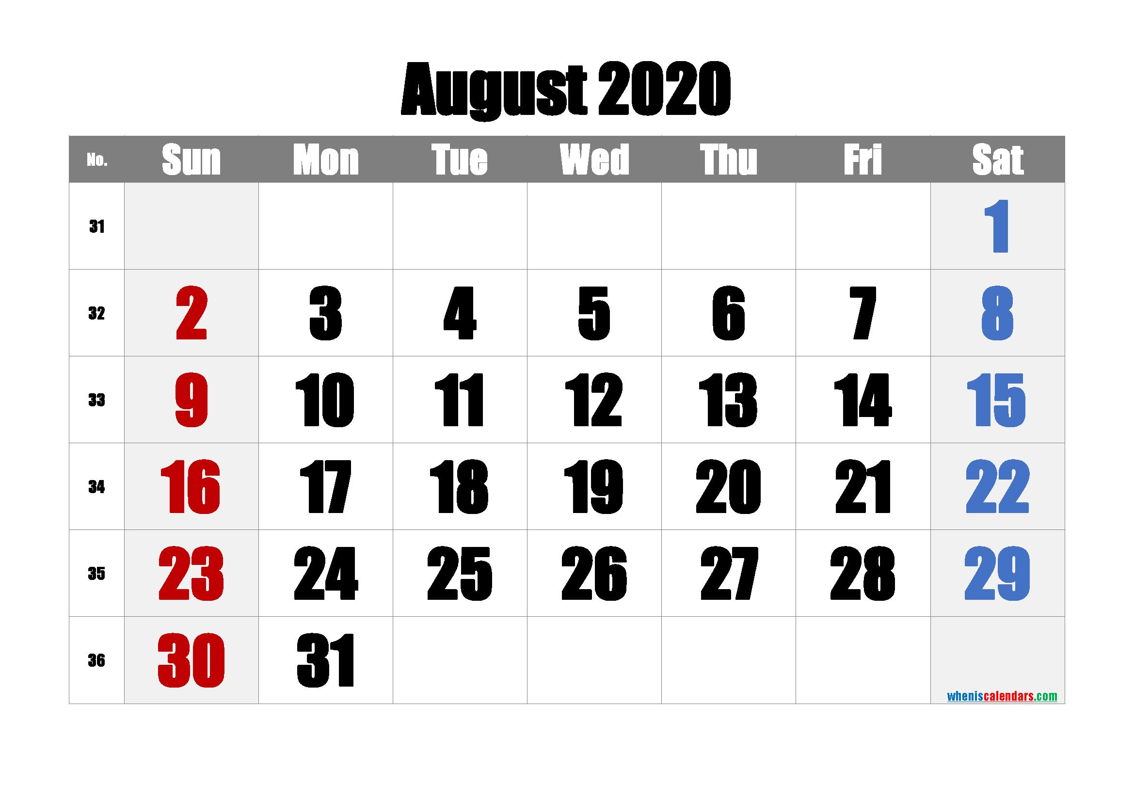 Free August 2020 Calendar with Week Numbers