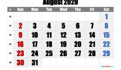 Printable Calendar 2020 August