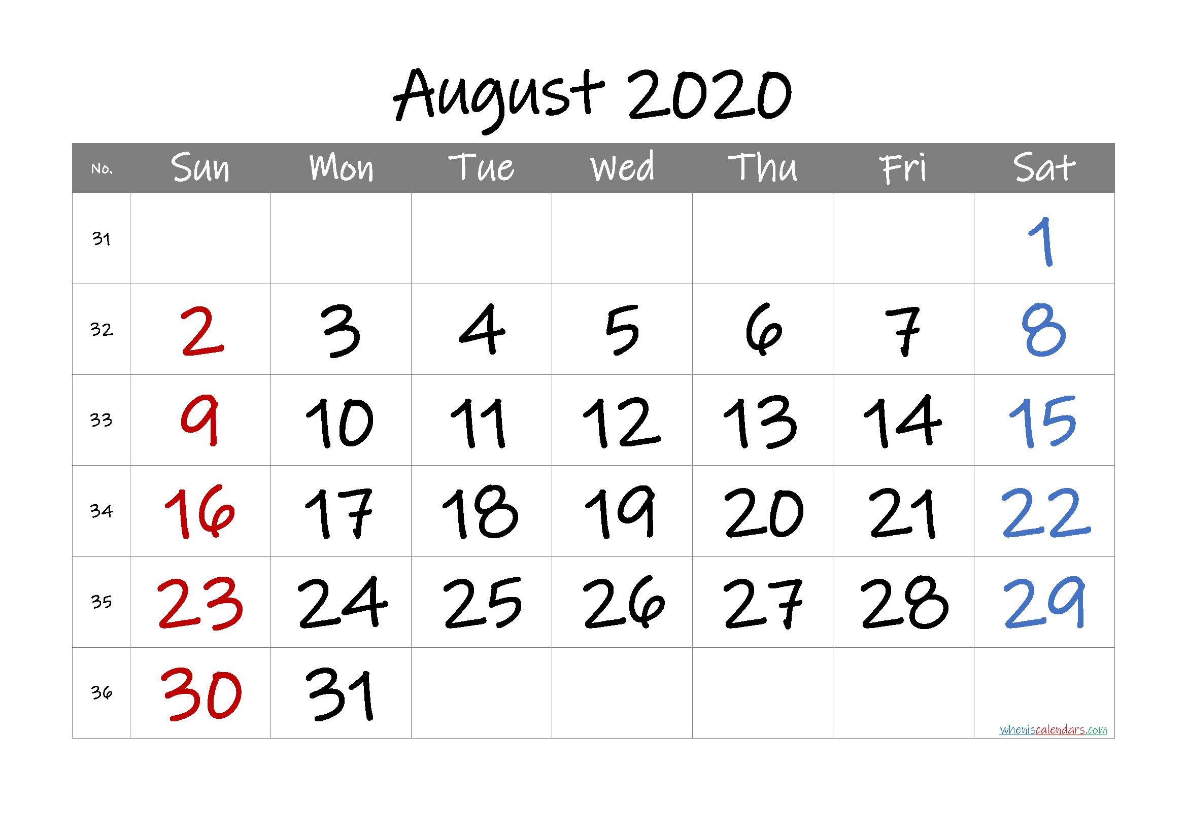 Free Printable Calendar 2020 August