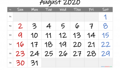 Printable August 2020 Calendar with Week Numbers