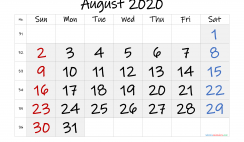 Free Printable August 2020 Calendar with Week Numbers