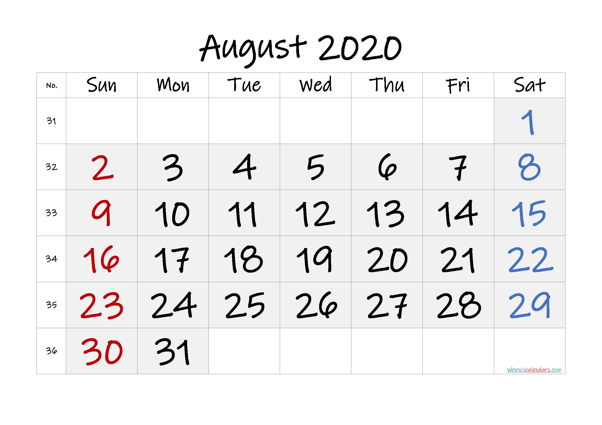 Free Printable August 2020 Calendar