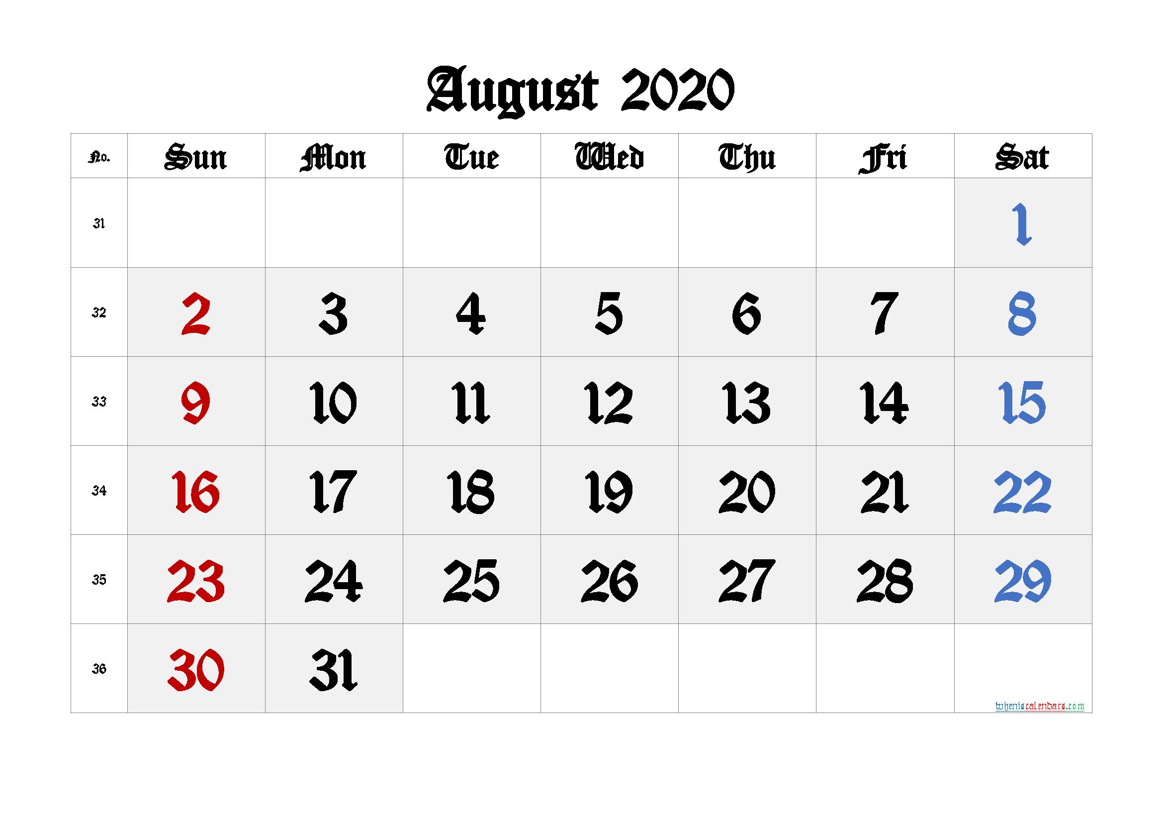 Printable August 2020 Calendar with Week Numbers