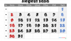 Free Printable 2020 August  Calendar