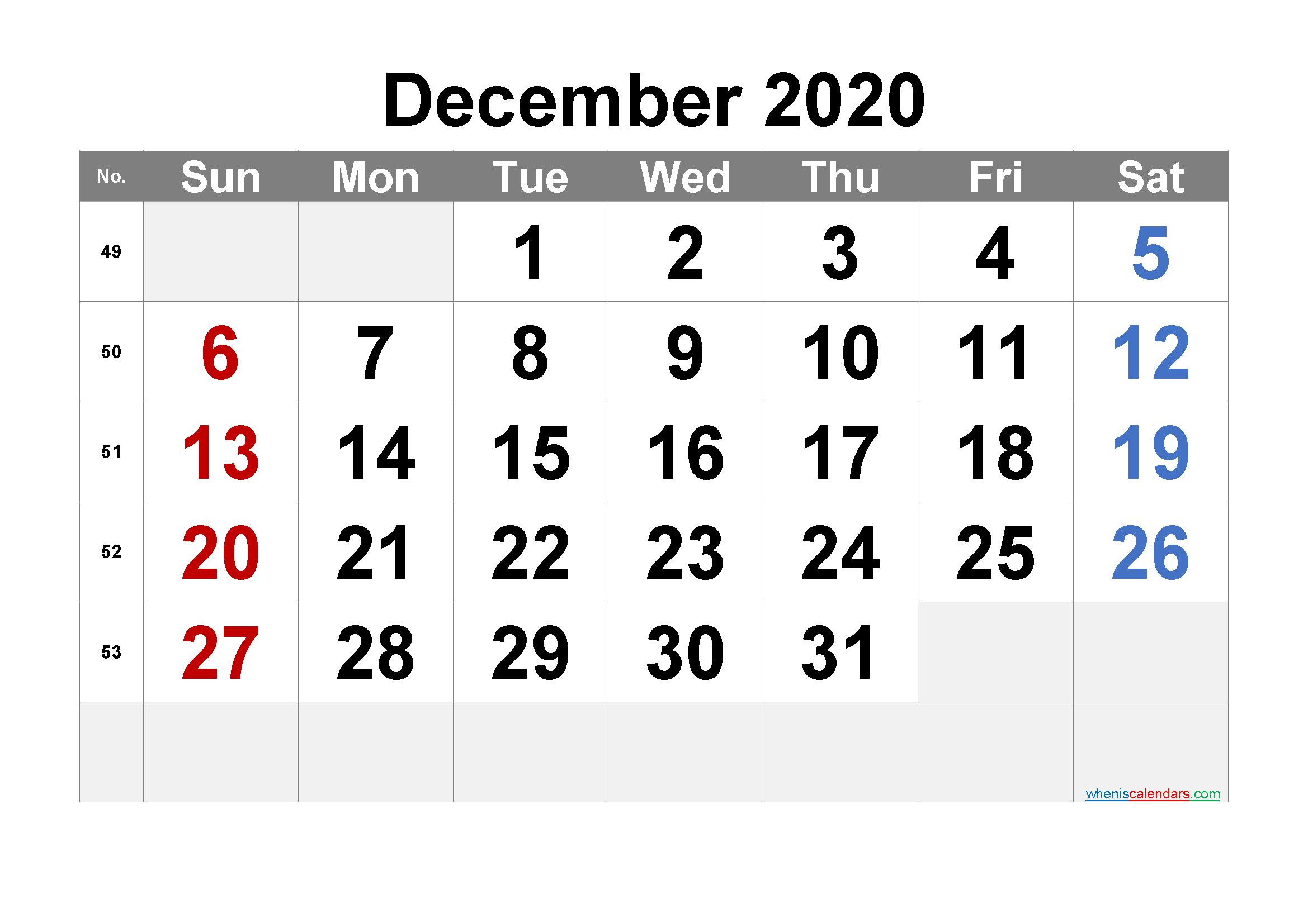 Free Printable December 2020 Calendar with Week Numbers