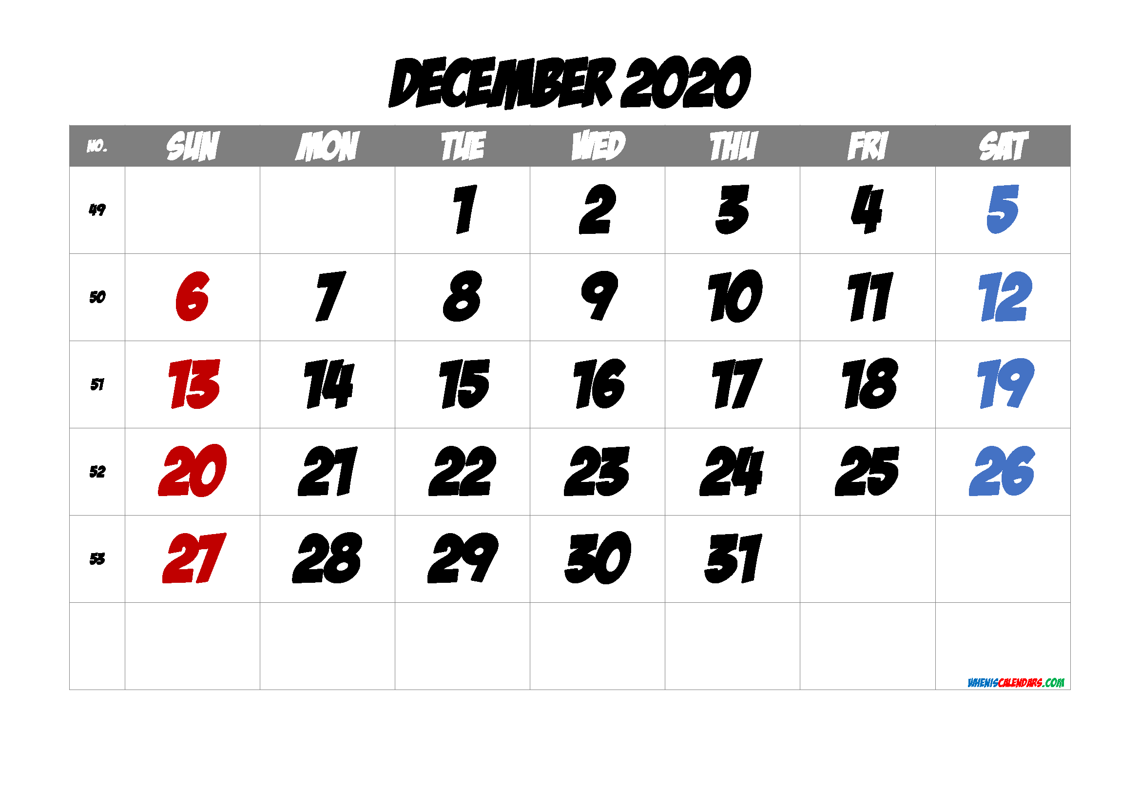 2020 December Free Printable Calendar