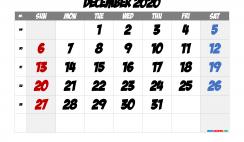 Free Printable 2020 December Calendar
