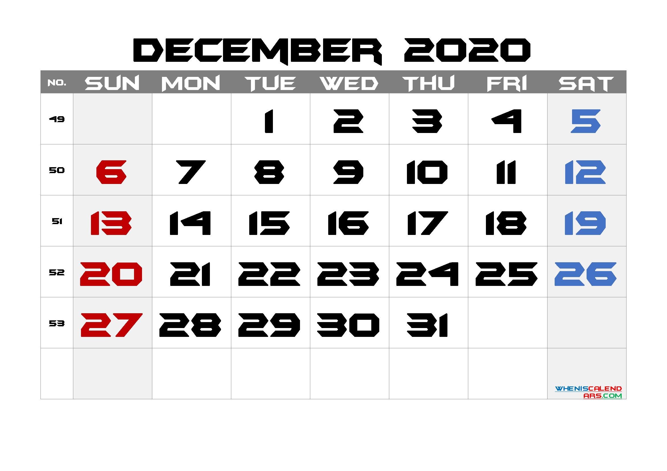 Free Printable Calendar 2020 December