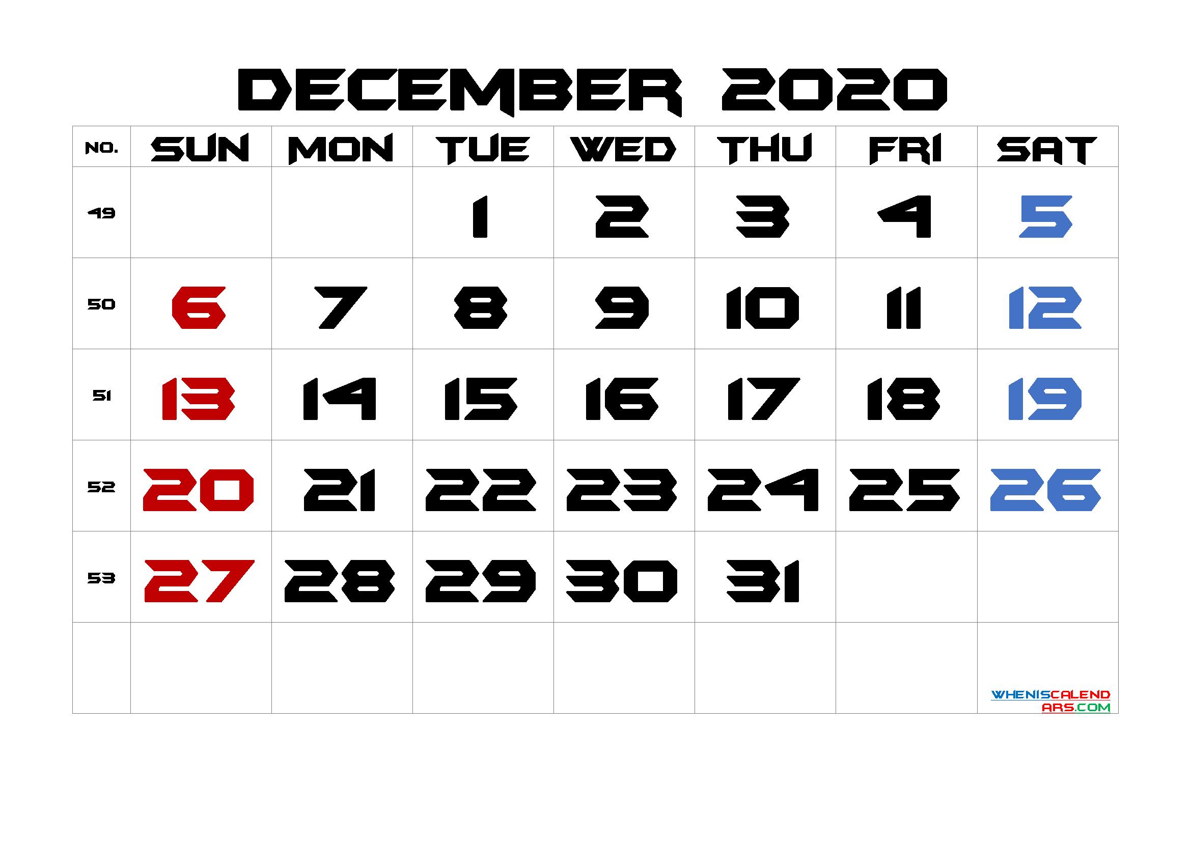 December 2020 Printable Calendar with Week Numbers