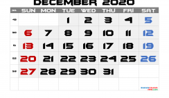 Free December 2020 Calendar with Week Numbers