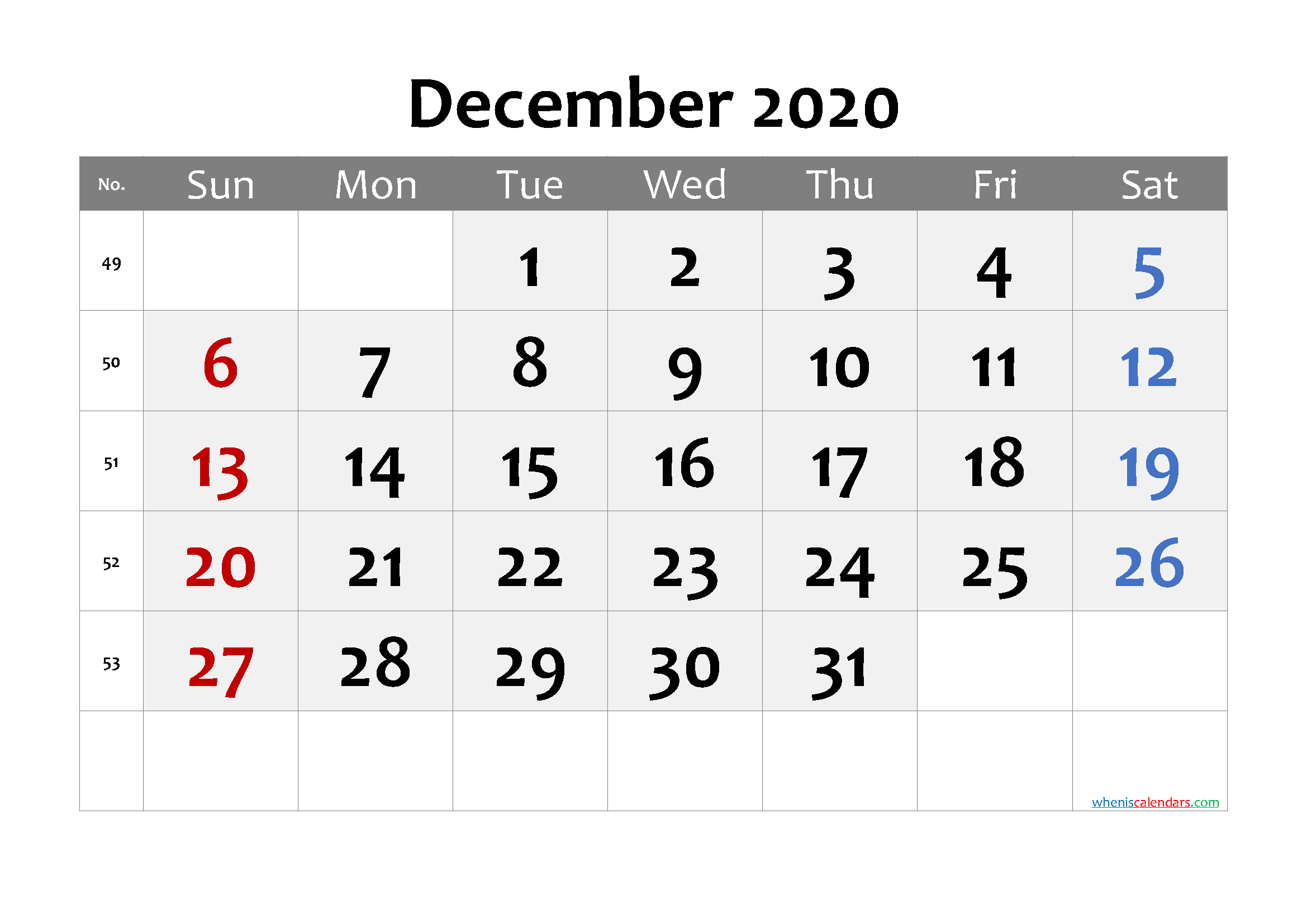 December 2020 Printable Calendar with Week Numbers