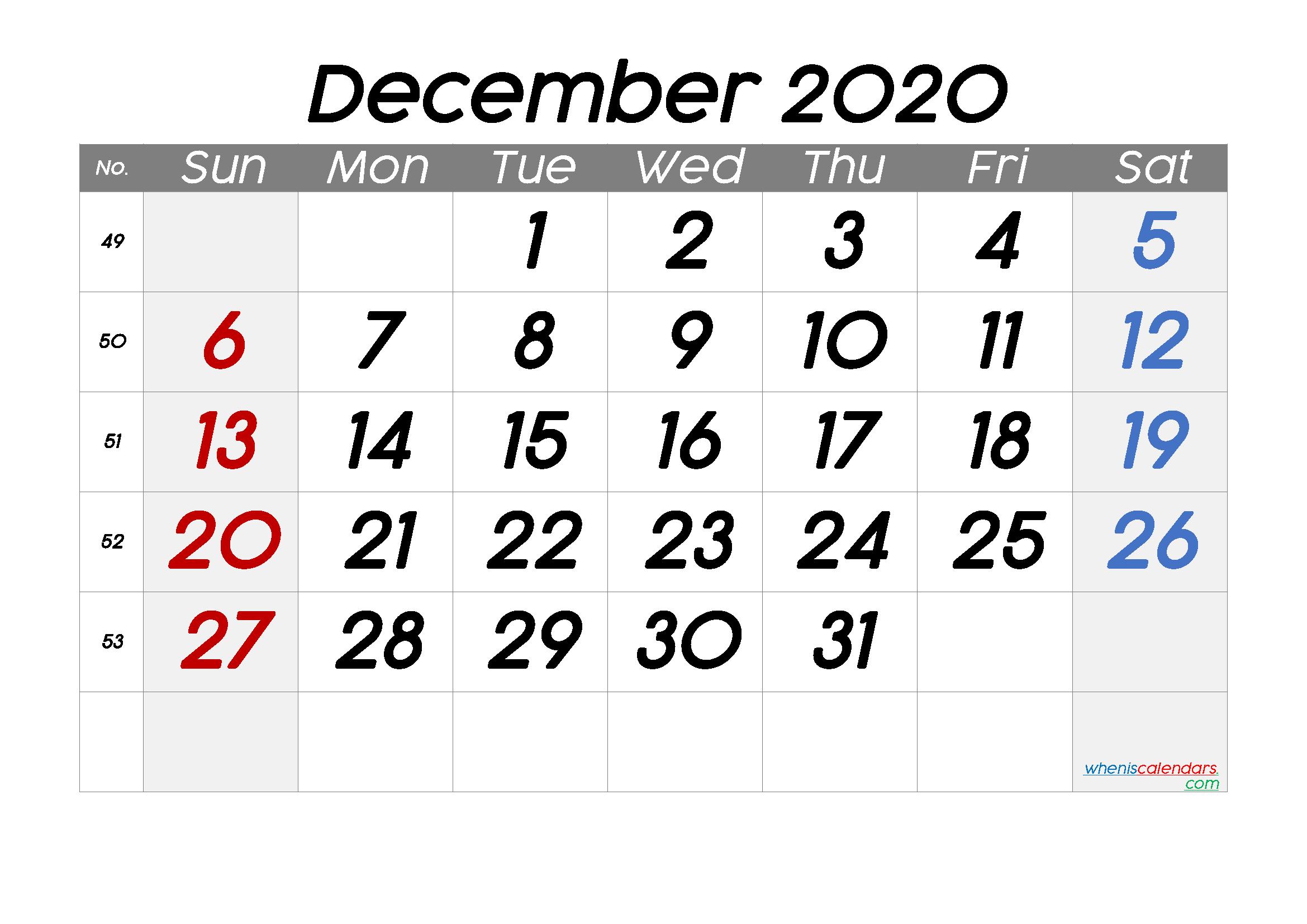 Free December 2020 Calendar