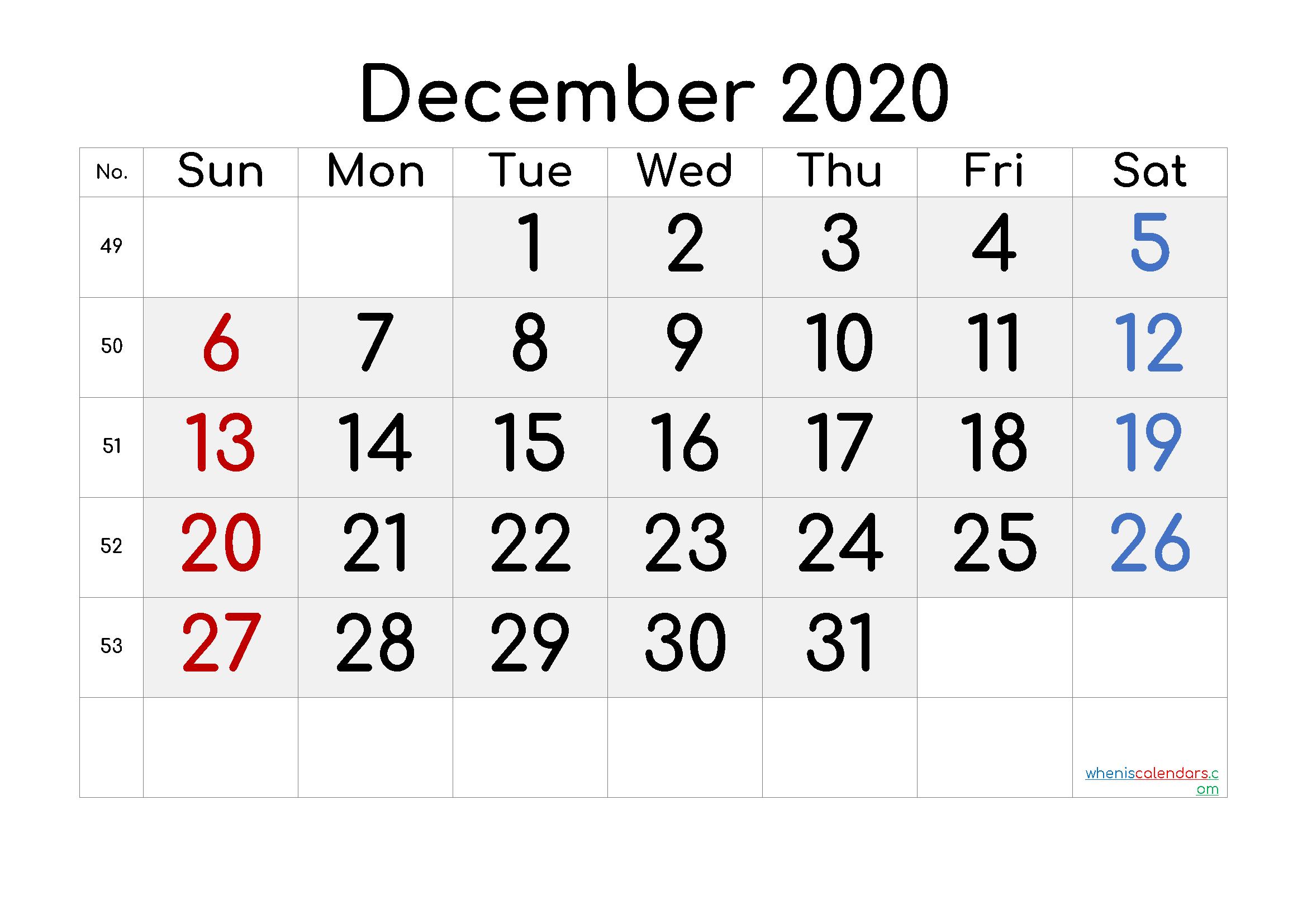 Printable December 2020 Calendar with Week Numbers