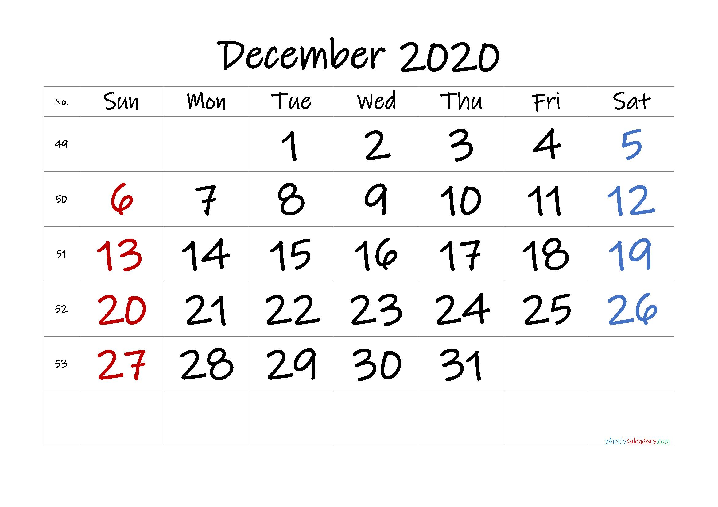 Free December 2020 Calendar with Week Numbers