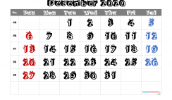 Free Printable December 2020 Calendar with Week Numbers
