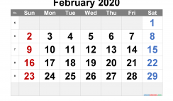 Free Printable February 2020 Calendar with Week Numbers