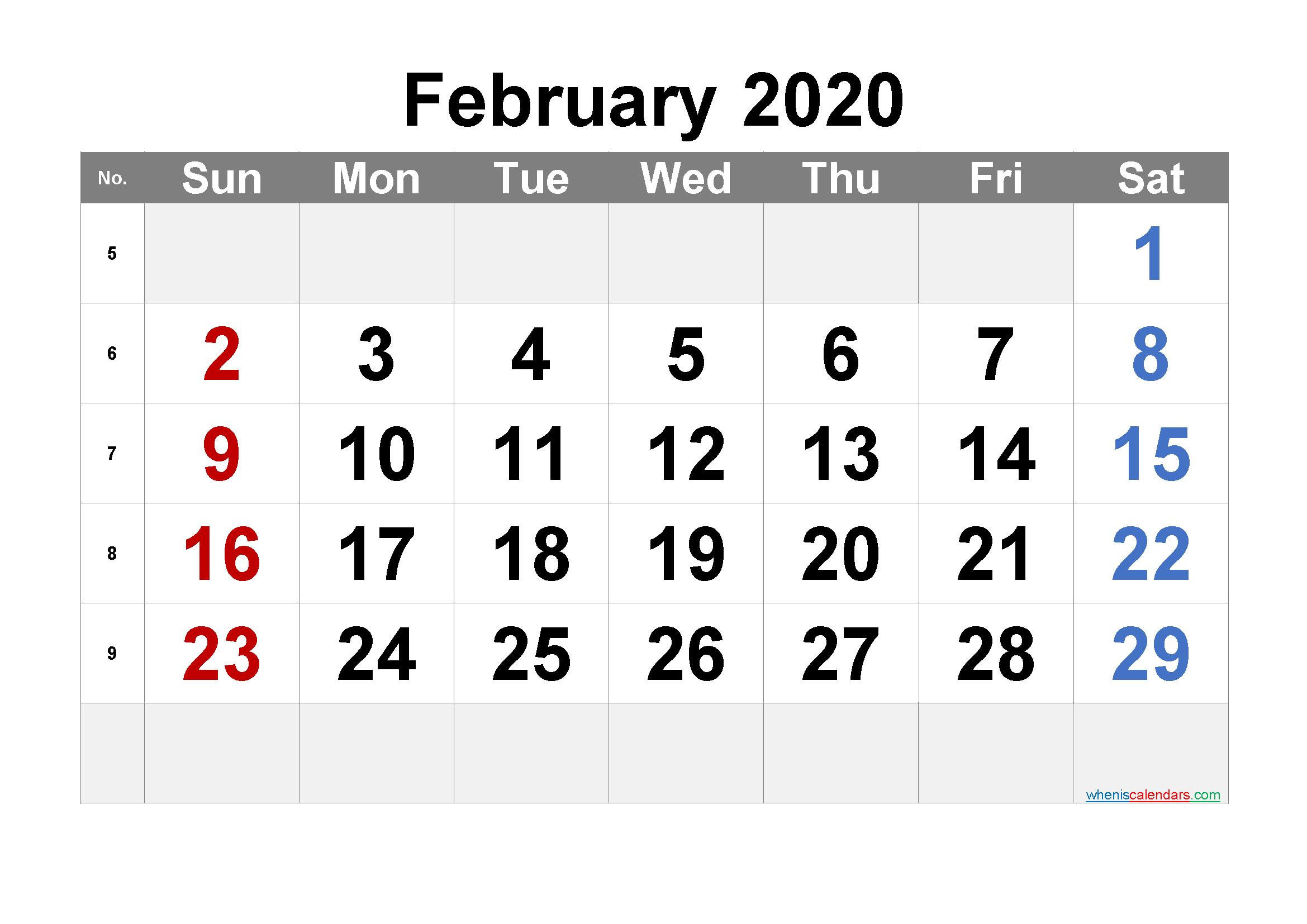 Free Printable February 2020 Calendar with Week Numbers