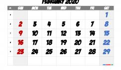 Free Printable 2020 February  Calendar