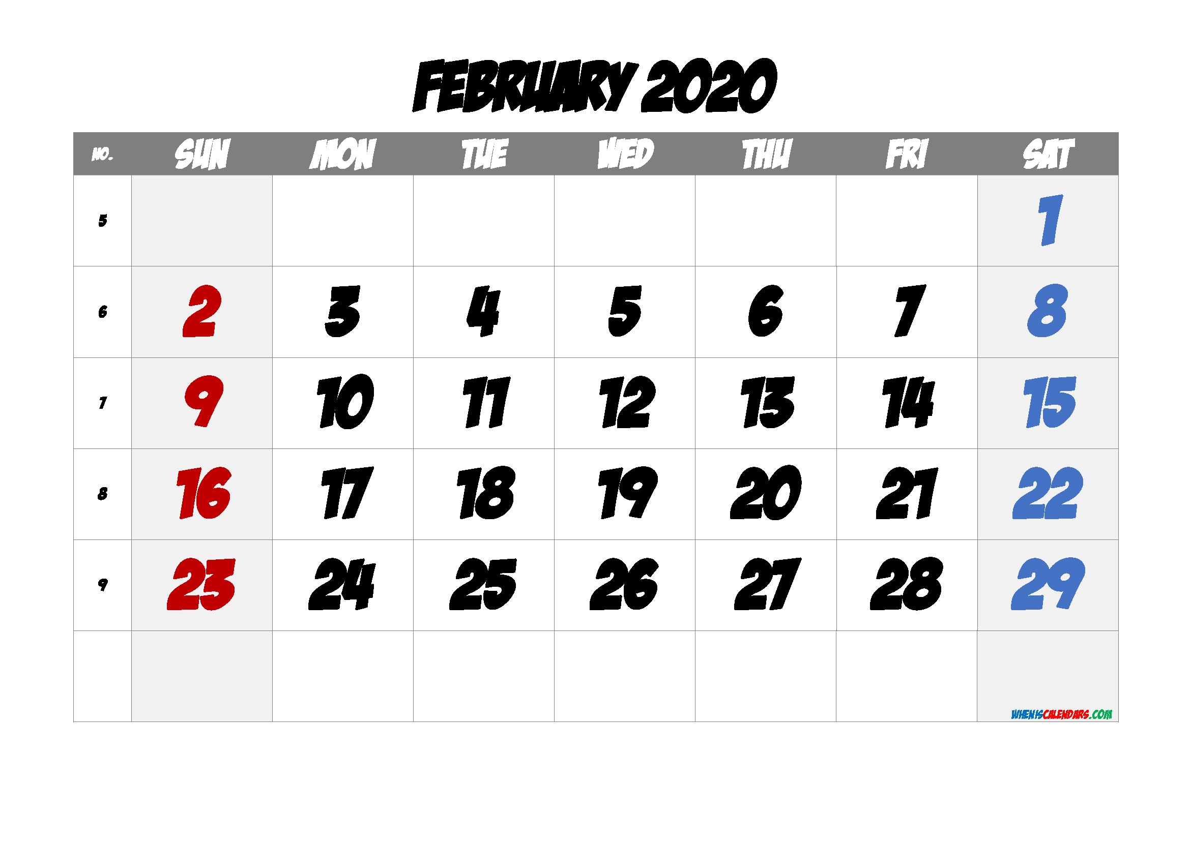 February 2020 Printable Calendar with Week Numbers