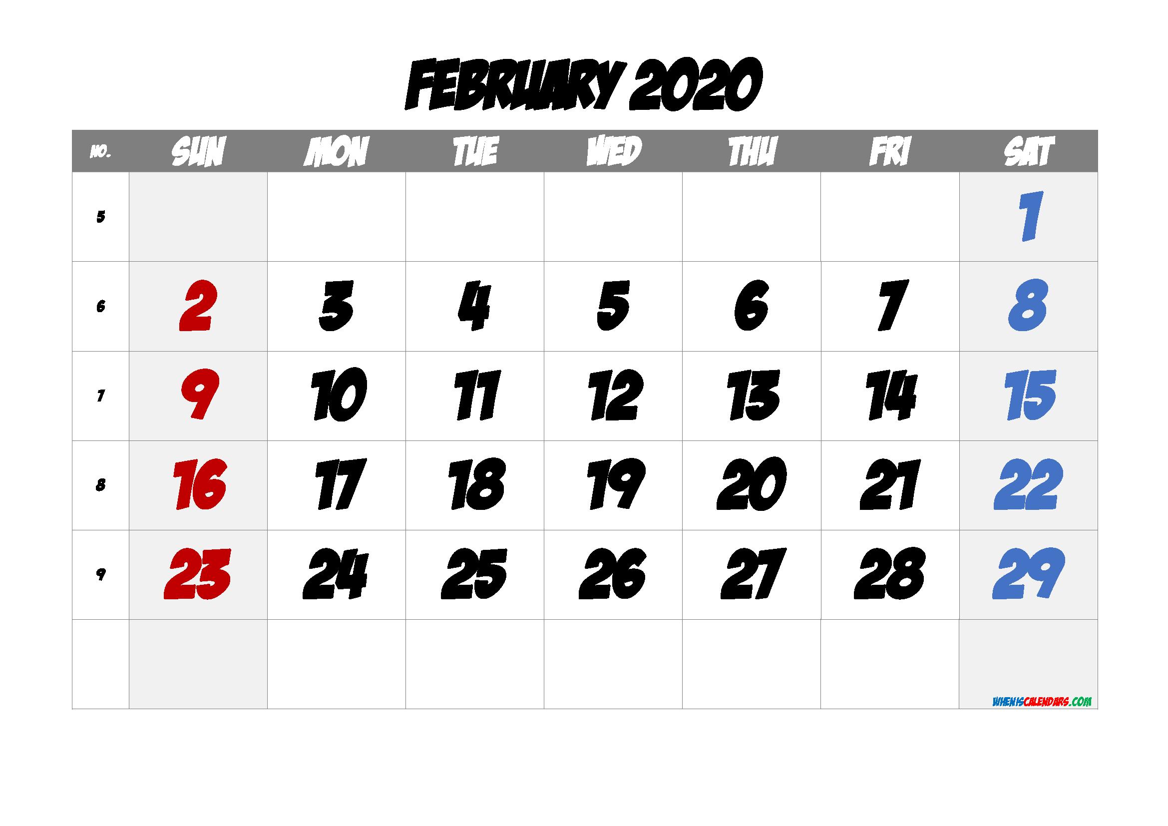 February 2020 Printable Calendar with Week Numbers