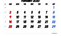 Free February 2020 Calendar with Week Numbers