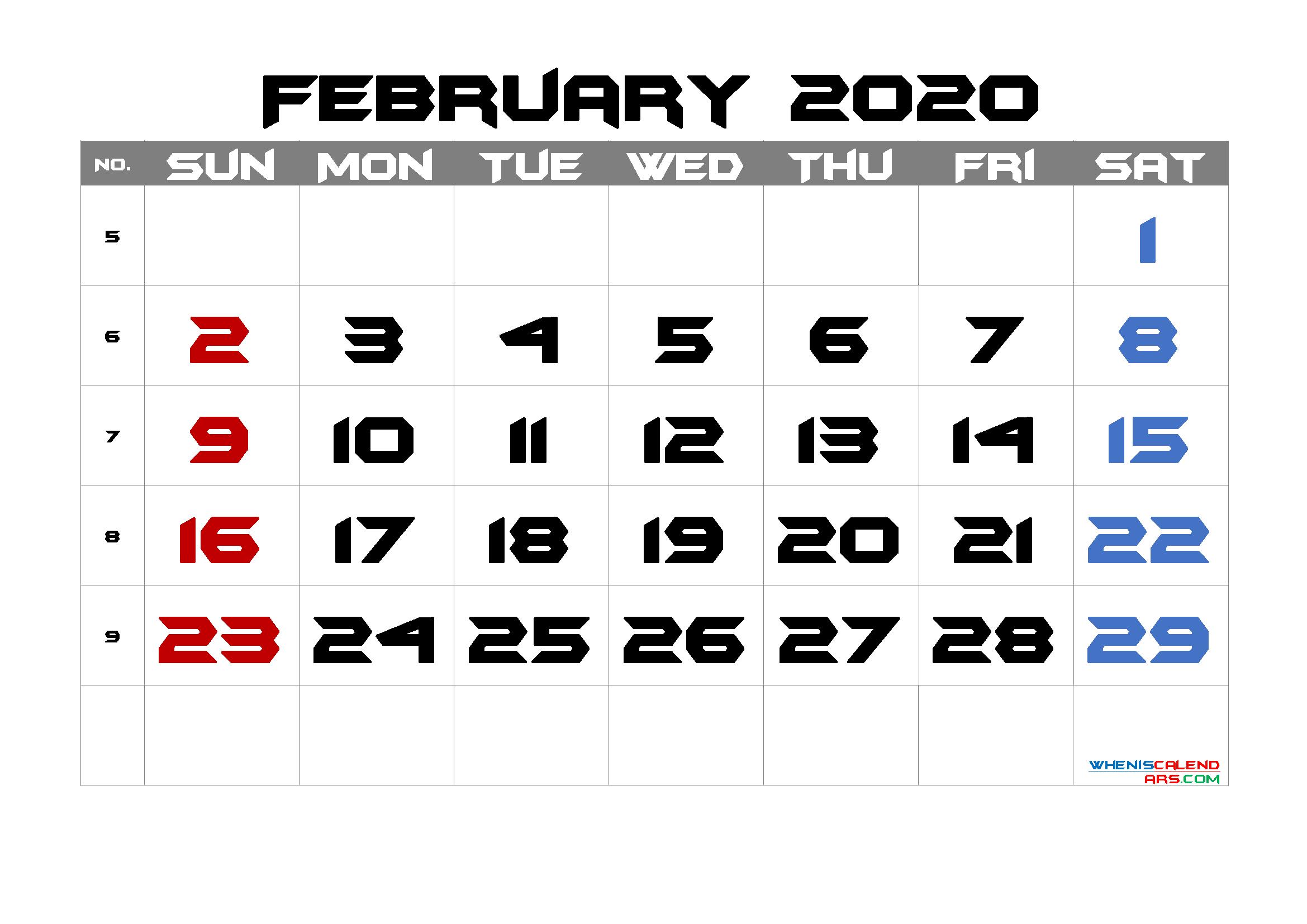 February 2020 Printable Calendar