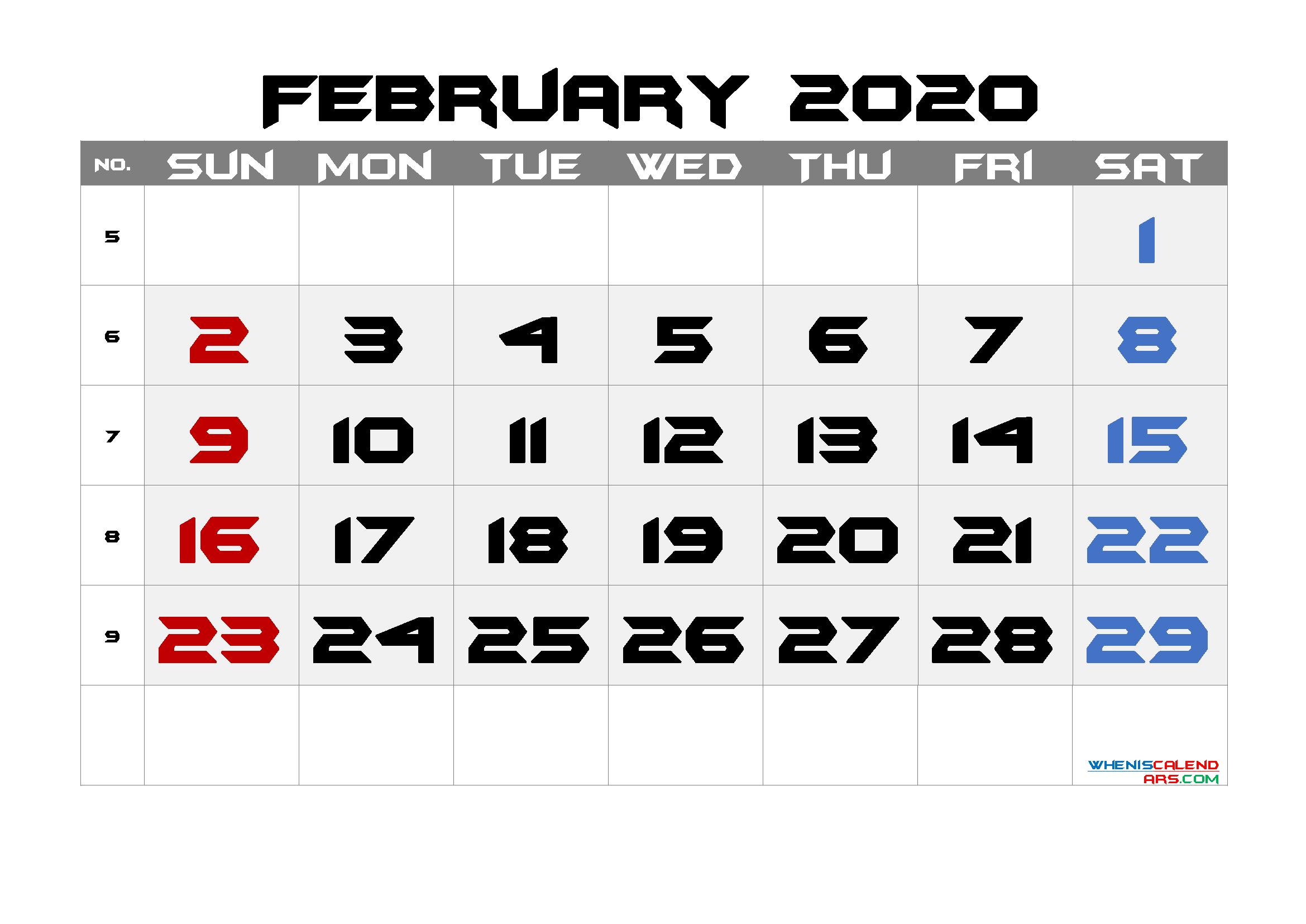 Free February 2020 Calendar with Week Numbers