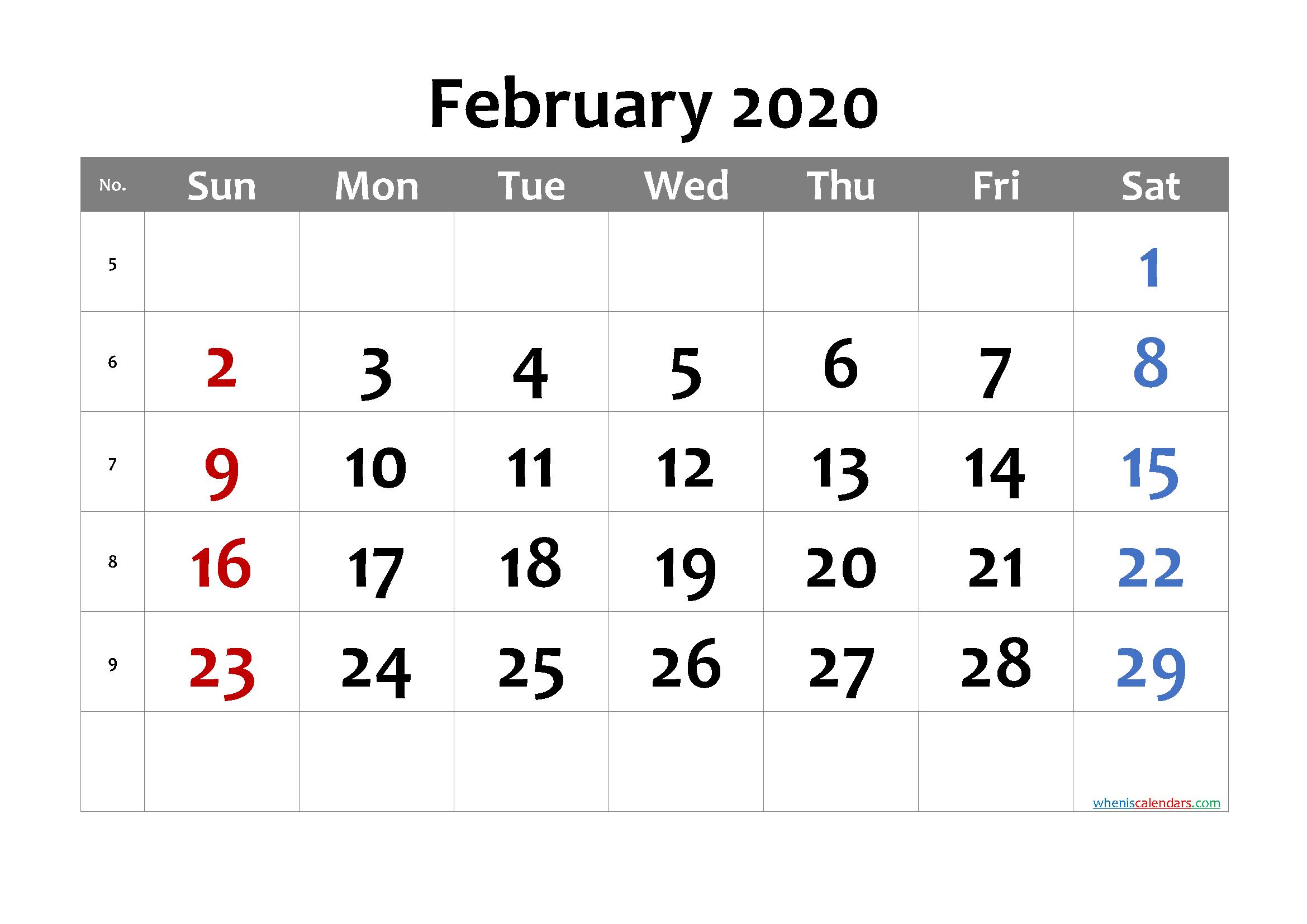 Free Printable February 2020 Calendar