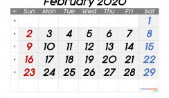 Printable Calendar 2020 February