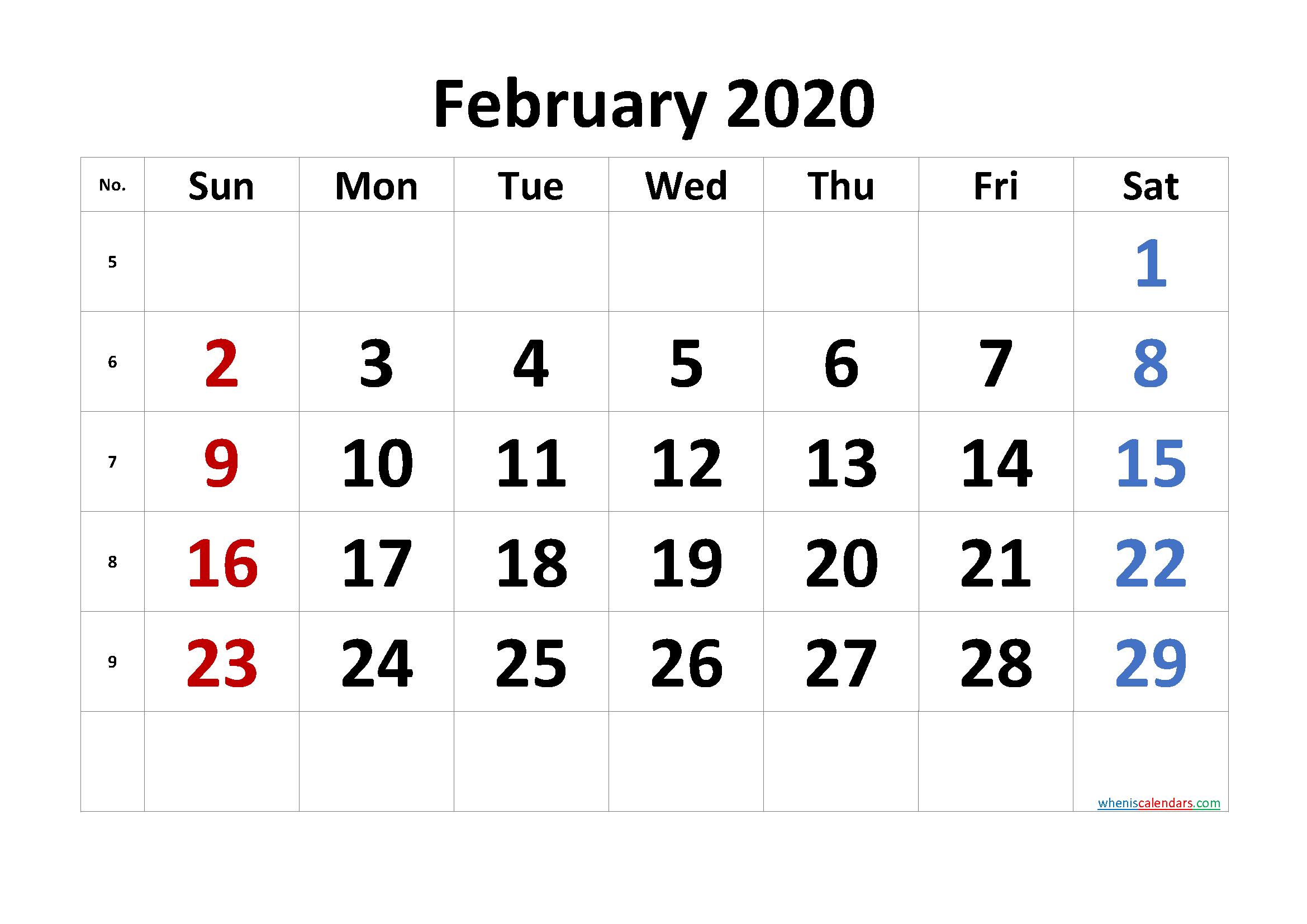 Free February 2020 Calendar