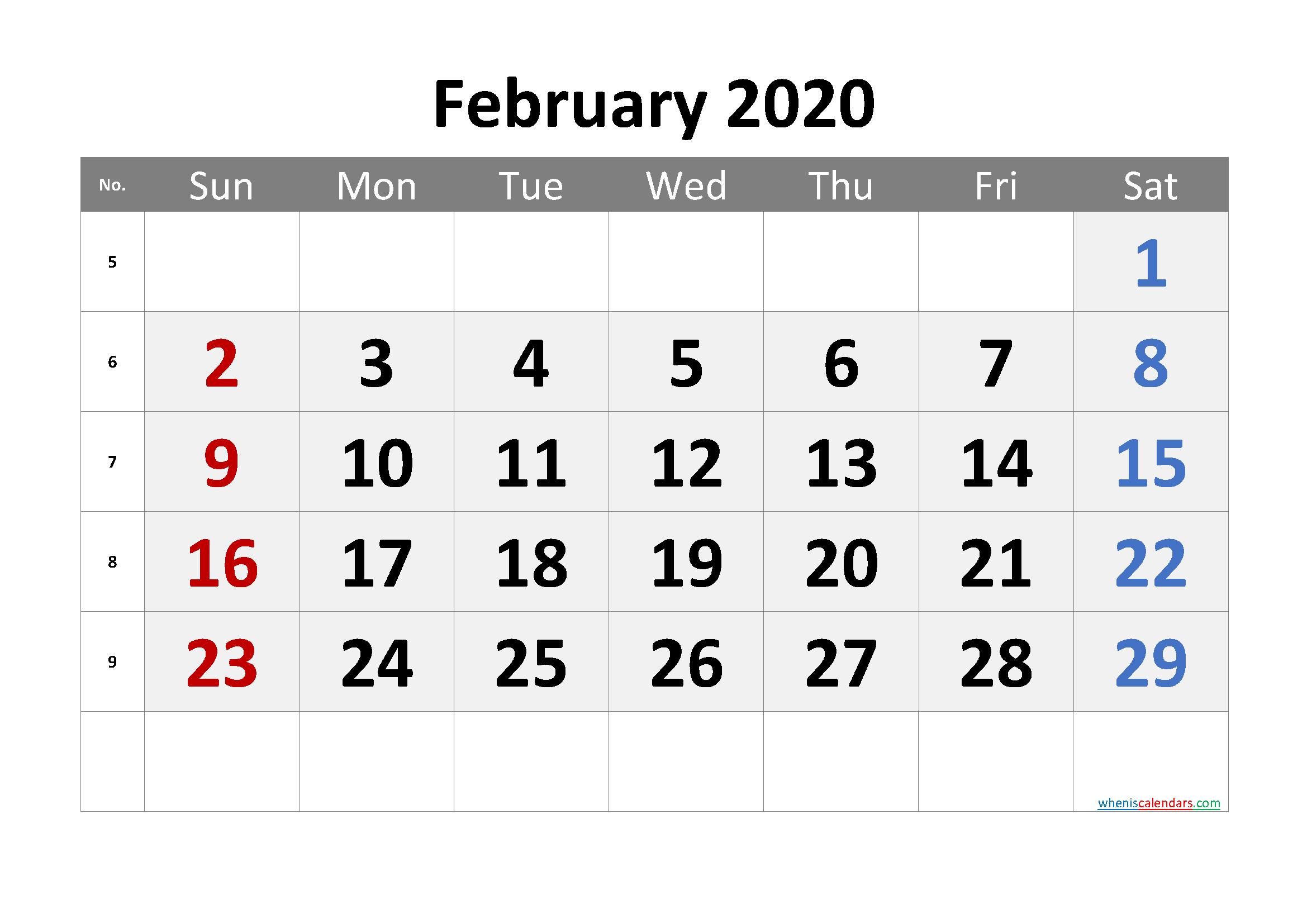 Printable Calendar February 2020
