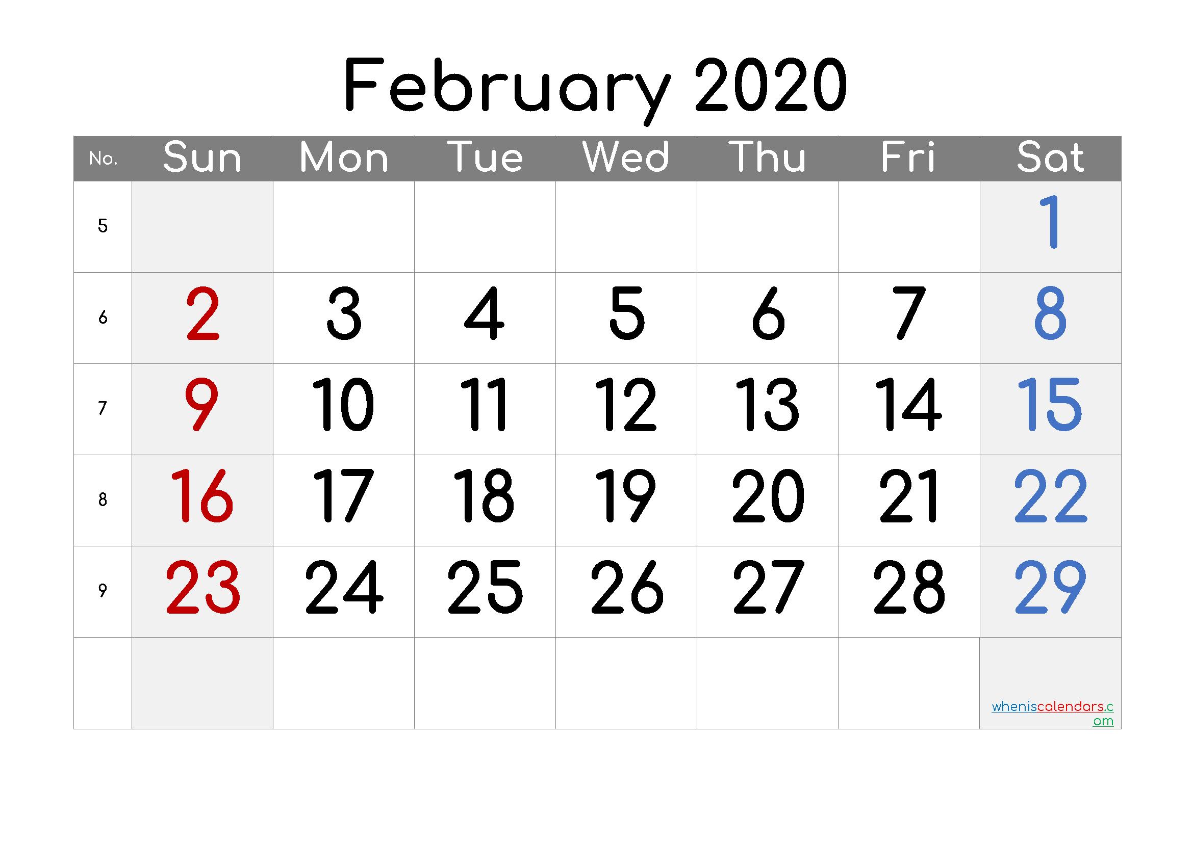 Free Printable Calendar 2020 February