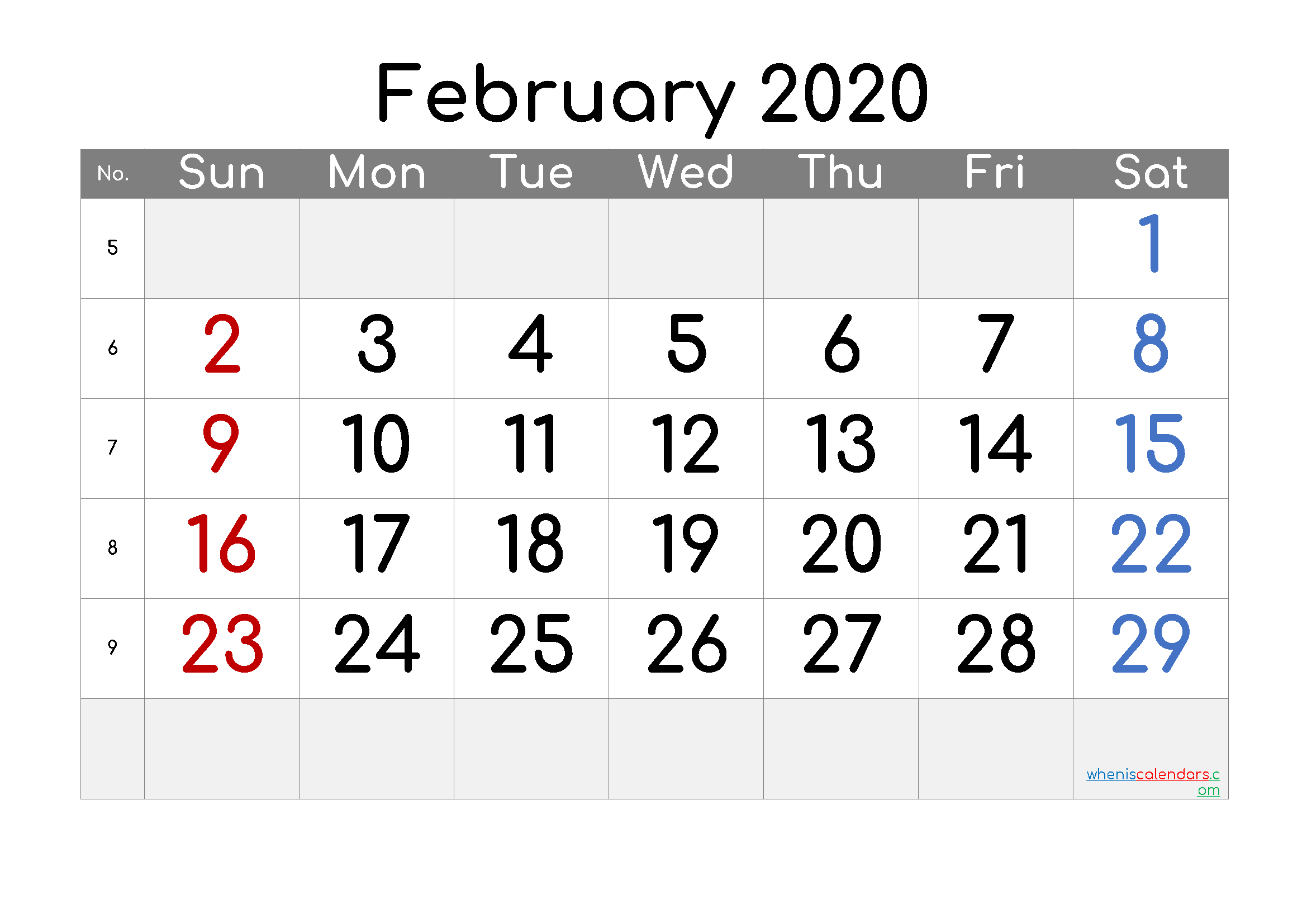 2020 February Free Printable Calendar